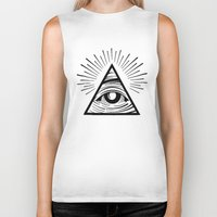 all seeing eye Biker Tanks featuring ILLUMINATI ALL SEEING EYE by HAUS OF DEVON