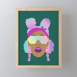 Top Puffs Girl #naturalhair #rainbowhair #shades #lipstick #blackunicorn #curlygirl Framed Mini Art Print