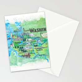 USA Washington State Illustrated Travel Poster Favorite Map Stationery Cards