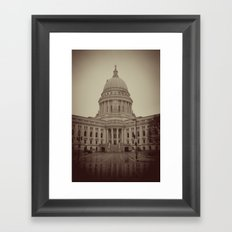 Madison Wisconsin Capital Building Architecture Sepia Photography Framed Art Print
