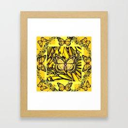 GOLDEN YELLOW MONARCH BUTTERFLIES MELODY Framed Art Print
