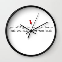 paper towns Wall Clocks featuring Paper Towns by annika