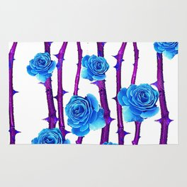 BABY BLUE ROSES &  PURPLE THORN CANES Rug