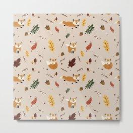 Autumn Foxes Pattern Illustration  Metal Print