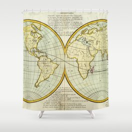 Vintage Map of The World (1787) Shower Curtain