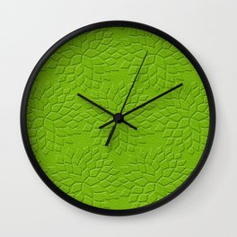 Leather Look Petal Pattern - Greenery Color Wall Clock