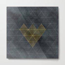 Charcoal Diamonds and Hexagons Metal Print