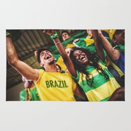 brazilian supporters cheering at the stadium for the world cup Rug