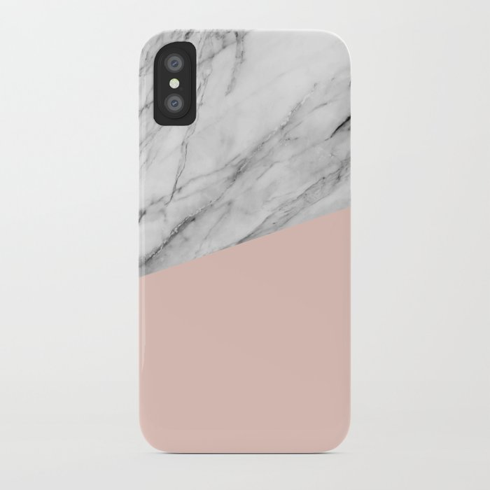 Marble and pale dogwood color iPhone Case