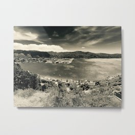 The Wind and the Waves in Black and White Metal Print