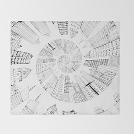 black and white city spiral digital painting Throw Blanket