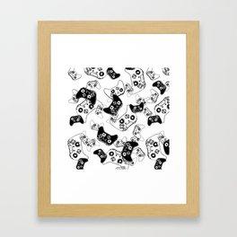 Video Game Black on White Framed Art Print