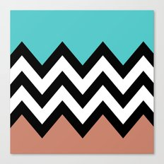 AQUA & DARK CORAL CHEVRON COLORBLOCK Canvas Print