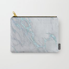 Marble Love Sea Blue Metallic Carry-All Pouch