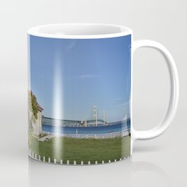 Mackinac Bridge and Mackinaw Lighthouse Coffee Mug