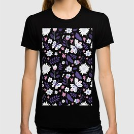 purple and pink flora T-shirt