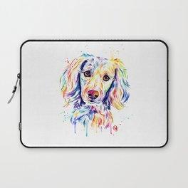 Colourful Pup Watercolor Pet Portrait Painting Laptop Sleeve