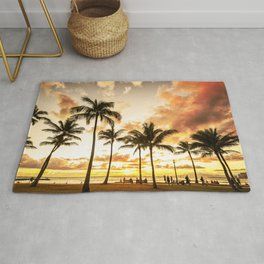 Typical Picturesque Waikiki Beach Sunset Rug
