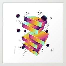 Geometric abstract 3D art Art Print