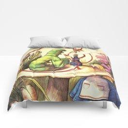 Alice & The Hookah Smoking Caterpillar - Alice In Wonderland Comforters