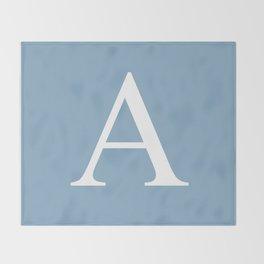 Letter A sign on placid blue color background Throw Blanket