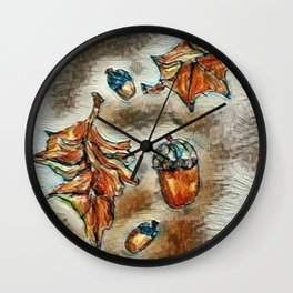 """"""" Acorns And Leaves """" Wall Clock"""