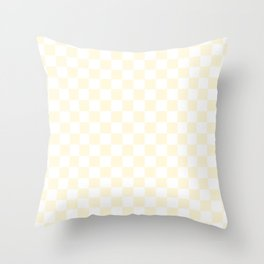 Small Checkered - White and Cornsilk Yellow Throw Pillow