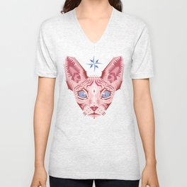 Sphynx Cat - Rose Quartz and Serenity version Unisex V-Neck