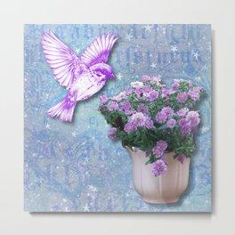 Bird with Purples Flowers Metal Print