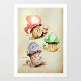 Mario Mushrooms Botanical Illustration Art Print