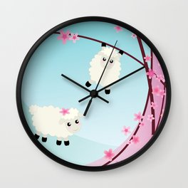 Spring Cherry Blossom and Sheep Graphic Art Wall Clock