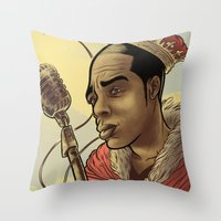 rap Throw Pillows featuring Proclaimed King of Rap by Logan  Faerber