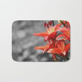 Orange Lily Flower Blossom, Lilium Digital Photography Close up, Black and White Background Bath Mat