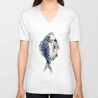 fairytale V-neck T-shirts featuring Fairytale Fish by Christie Rainey