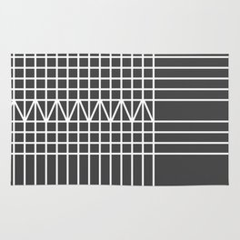 Modern white gray geometrical plaid stripes Rug