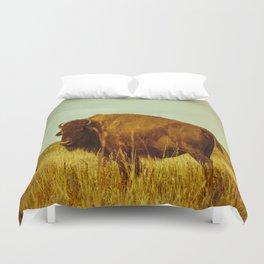 Vintage Bison - Buffalo on the Oklahoma Prairie Duvet Cover
