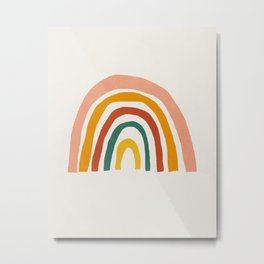 Rainbow, Mid century modern kids wall art, Nursery room Metal Print