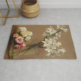 Henri Fantin-Latour - Roses And Lilies Rug