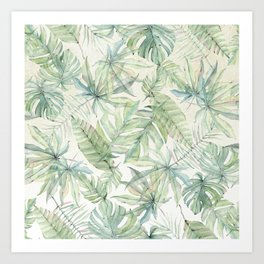 Green Tropical Leaves Art Print