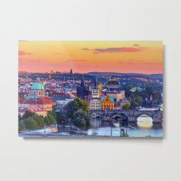 Charles bridge, Karluv most, Prague in winter at sunrise, Czech Republic. Metal Print