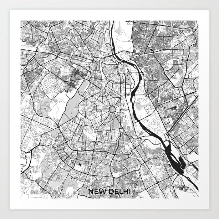 new delhi map gray art print by hubertroguski society6new delhi map gray art print