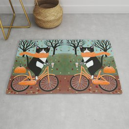 Tuxedo Cat Autumn Bicycle Ride Rug