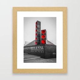 Cleveland Ohio Rock And Roll Hall Of Fame Black White Red Framed Art Print
