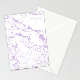 Modern trendy white pastel purple lavender marble pattern Stationery Cards
