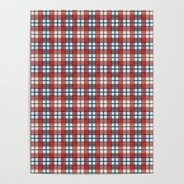 Colorful red grey plaid . Poster