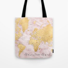 "Adventure awaits, gold and pink marble detailed world map, ""Sherry"" Tote Bag"