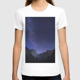 Purple Star Galaxy Mountains T-shirt