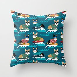 Surfing Corgis Dog summer beach hang 10 catch a wave summer dog pattern Throw Pillow