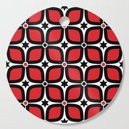 Mid Century Modern 4 Leaf Clover - Black, White, Red Cutting Board