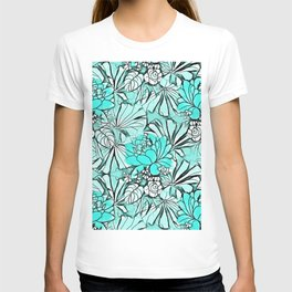 Trendy modern teal watercolor water lilies floral T-shirt